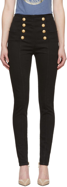 Balmain Black Eight Button Skinny Jeans