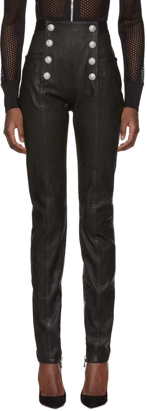 Balmain Black High-rise Leather Pants