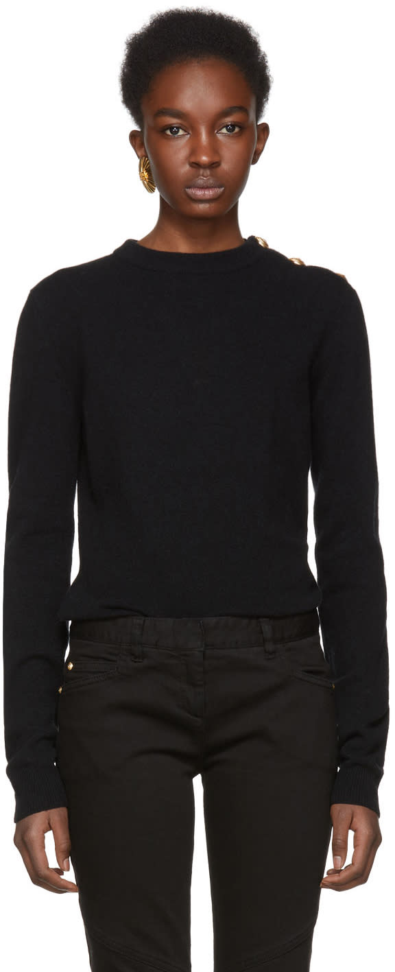 Balmain Black Three-button Sweater