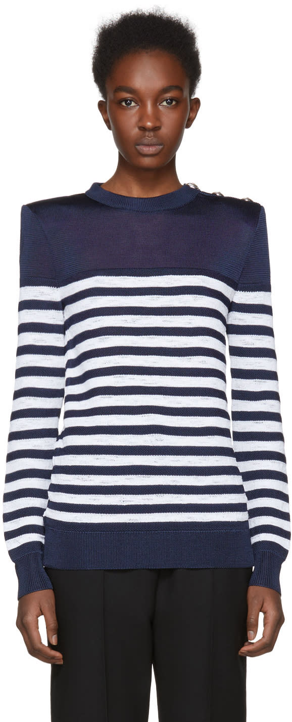 Balmain Navy and White Marine Striped Sweater