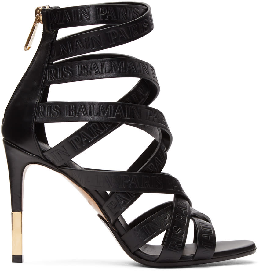 Balmain Black Charlotte Strappy Heeled Sandal