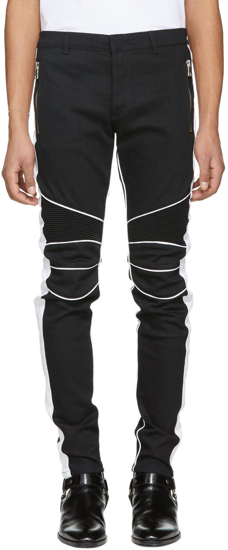 better huge discount classic style Balmain Black and White Slim Biker Jeans