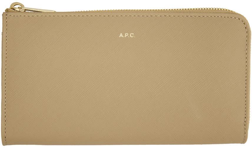 Image of A.p.c. Beige Long Zip Wallet