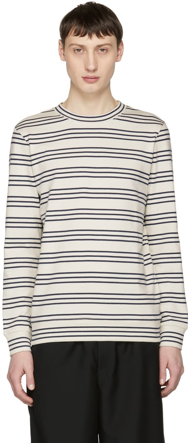 Apc White and Navy Long Sleeve Striped Peter T shirt