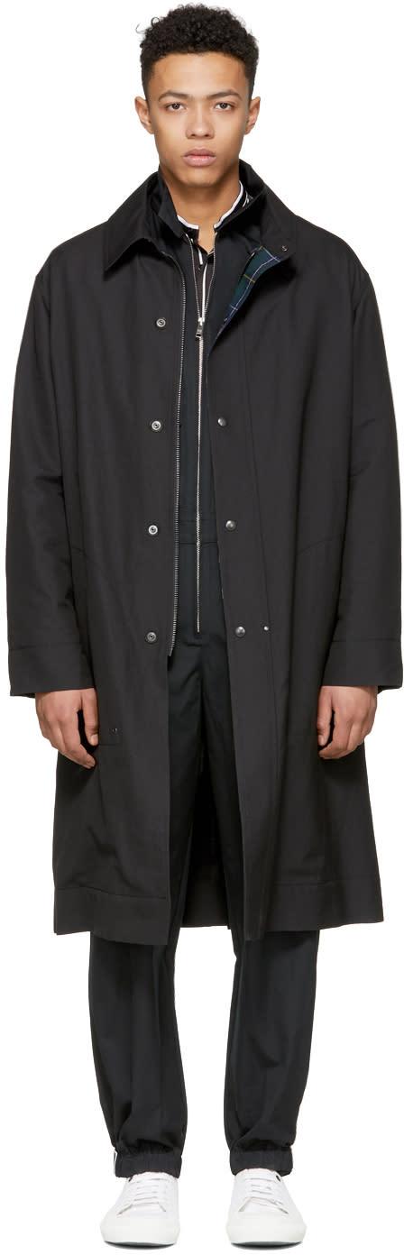 Lanvin ブラック テクニカル ウール コート