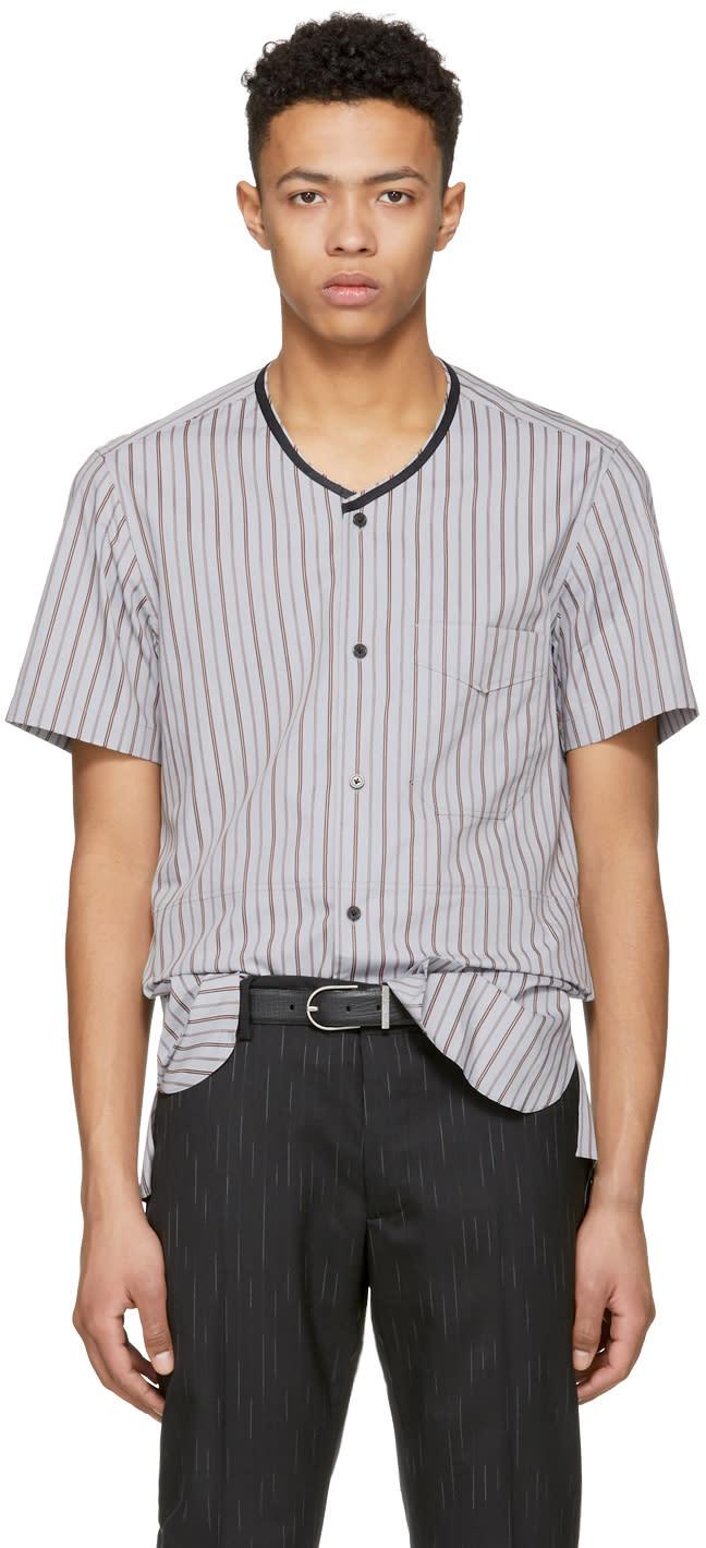 Lanvin マルチカラー ストライプ リボン シャツ