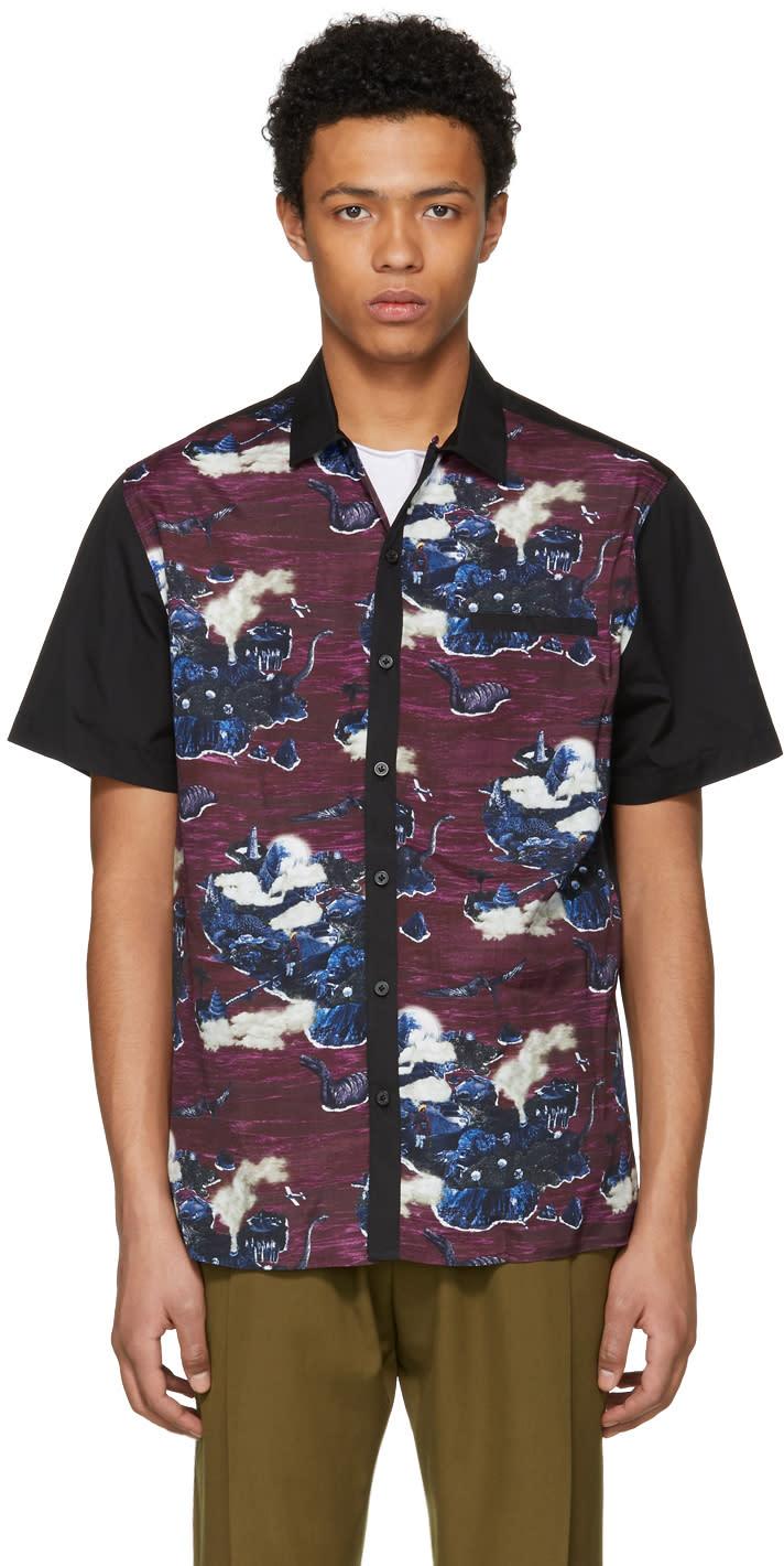 Lanvin ブラック and パープルボーリング シャツ