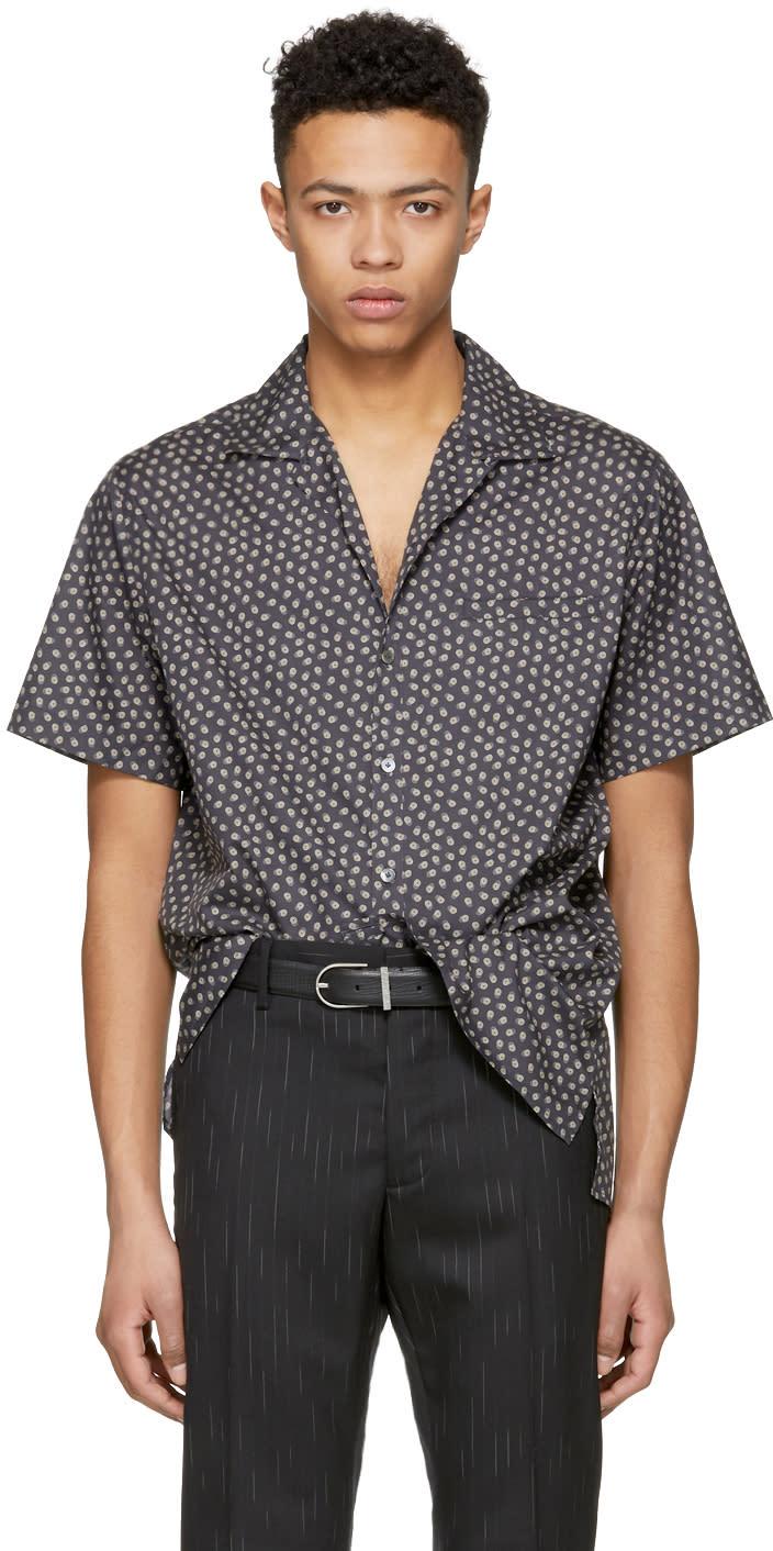 Lanvin ネイビー オープン カラー ボーリング シャツ