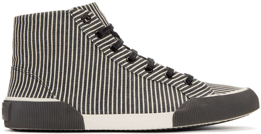 Image of Lanvin Black and White Striped Canvas Mid Sneakers