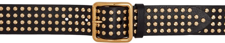 Image of Alexander Mcqueen Black and Gold Studded Belt