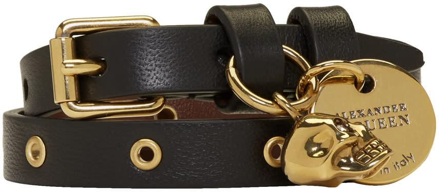 Image of Alexander Mcqueen Black and Gold Skull Double Wrap Bracelet