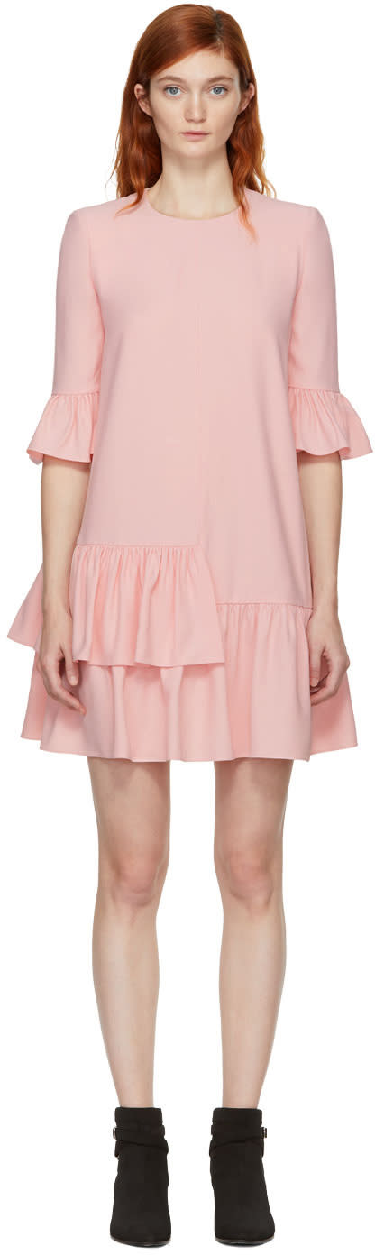 Alexander Mcqueen Pink Leaf Crepe Dress
