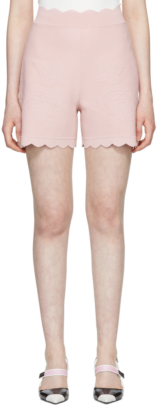 Alexander Mcqueen Pink Scalloped Knit Shorts