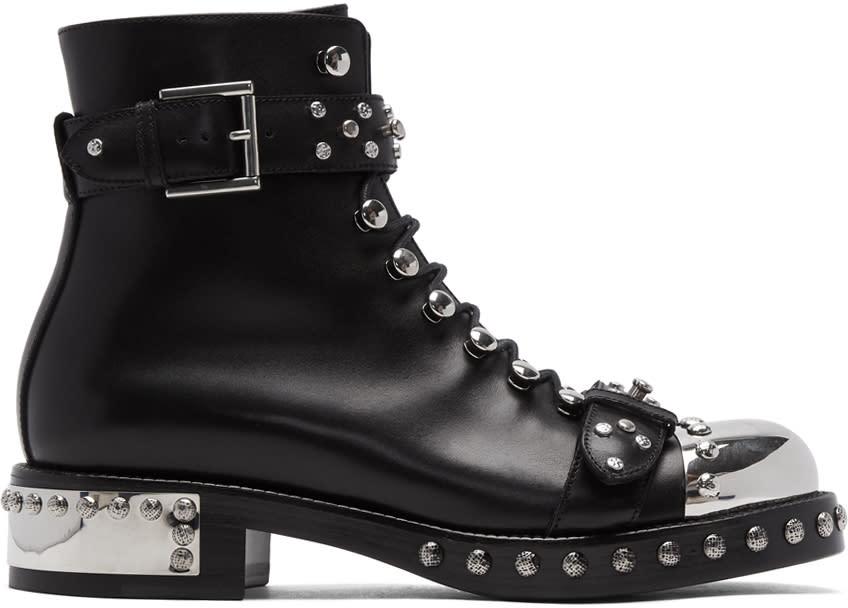 Alexander Mcqueen-Black Hobnail Boots