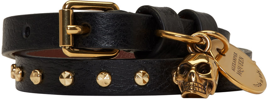 Image of Alexander Mcqueen Black and Gold Studded Skull Double Wrap Bracelet