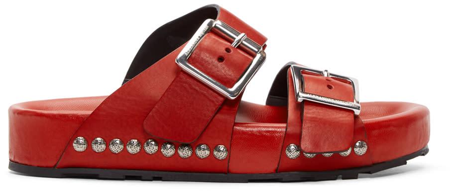Alexander Mcqueen Red Strap Sandals