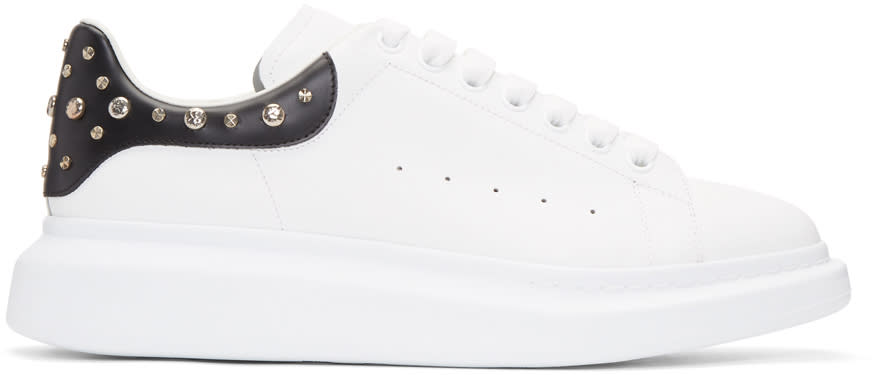 Alexander Mcqueen White and Black Studded Oversized Sneakers
