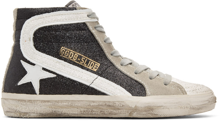 Image of Golden Goose Black Glitter Slide High-top Sneakers