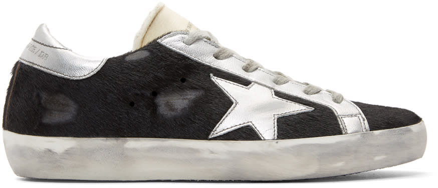 Image of Golden Goose Black Calf Hair Superstar Sneakers