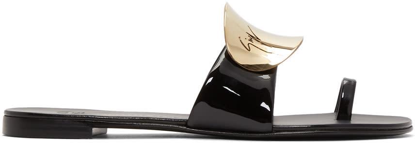 Giuseppe Zanotti Black Patent Nuvorock Sandals