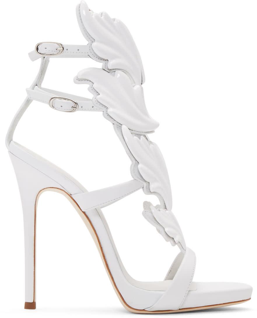 ef519c67f9178 Giuseppe Zanotti White Coline Wing Sandals