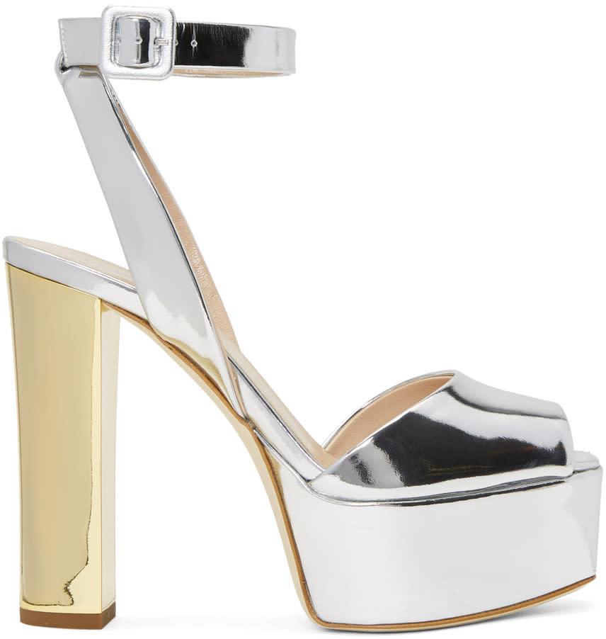 Giuseppe Zanotti Silver Lavinia Platform Sandals