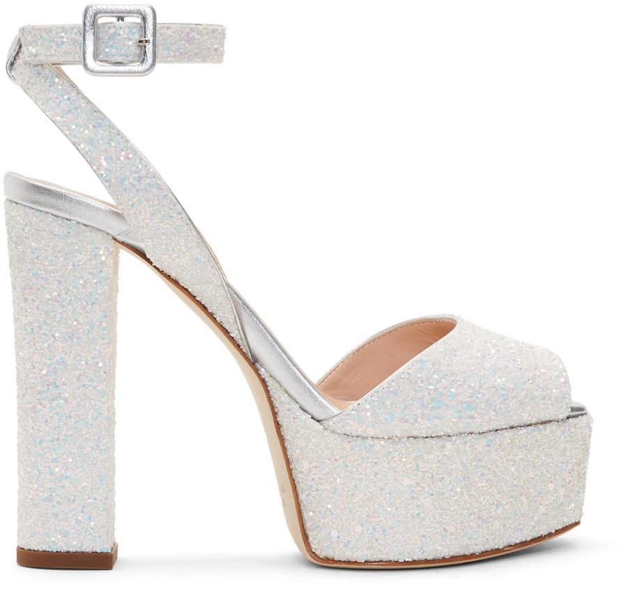 7243a459da62b Giuseppe Zanotti White Glitter Lavinia Platform Sandals