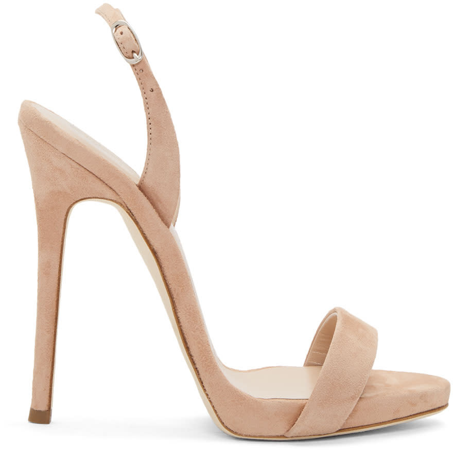 Giuseppe Zanotti Pink Suede Coline Plunge Sandals