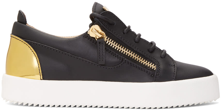 Image of Giuseppe Zanotti Black and Gold May London Sneakers