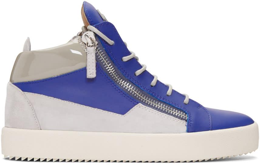 Giuseppe Zanotti Indigo and Grey May London High-top Sneakers