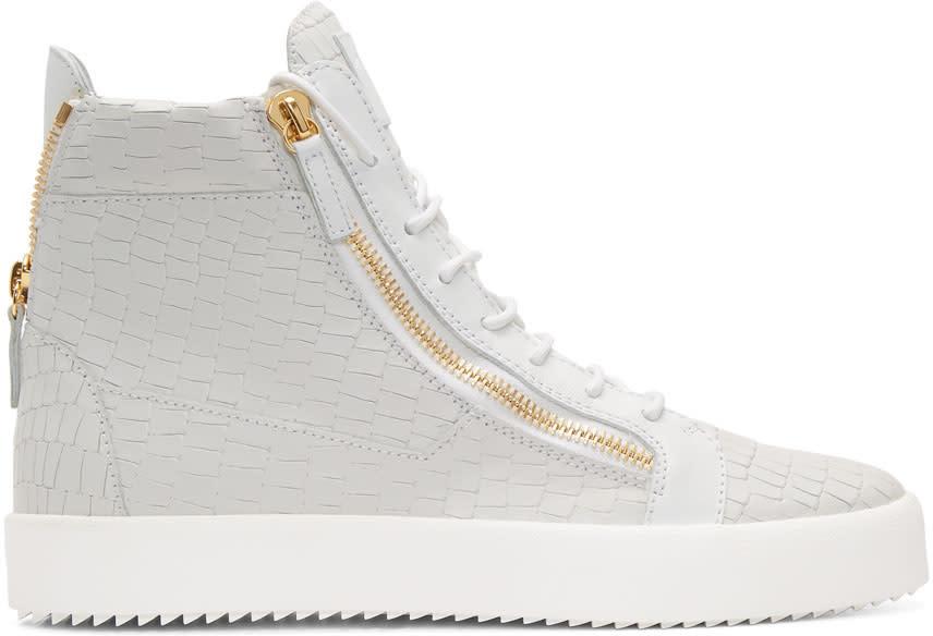 Giuseppe Zanotti White Croc London High-top Sneakers