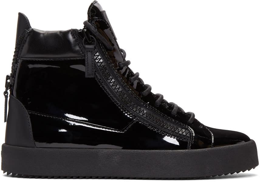 Giuseppe Zanotti Black Patent May London High-top Sneakers