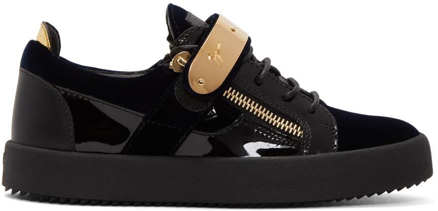 Giuseppe Zanotti Navy and Black Velvet May London Sneakers
