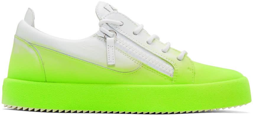 Giuseppe Zanotti White and Green Flashy May London Sneakers