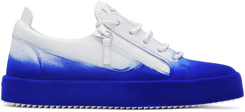 Giuseppe Zanotti White and Blue Flashy May London Sneakers