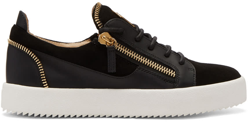 Giuseppe Zanotti Black Suede Zip May London Sneakers