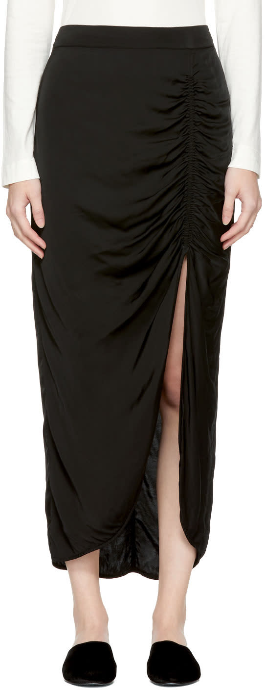 Image of Raquel Allegra Black Gathered Slit Skirt