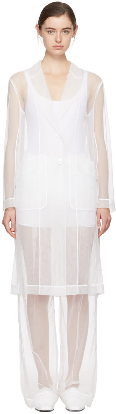 Givenchy White Tulle Trench Coat