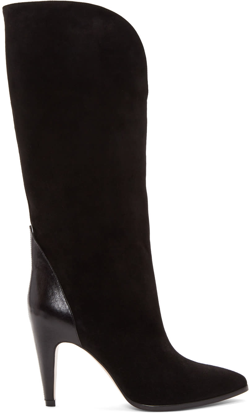 Givenchy-Black-Suede-Tall-Boots