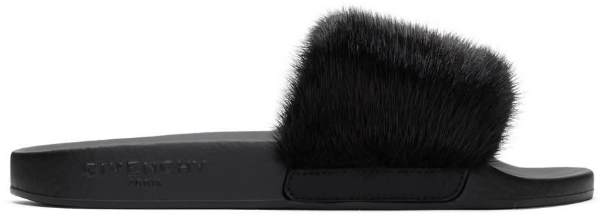 Givenchy Black Mink Slides