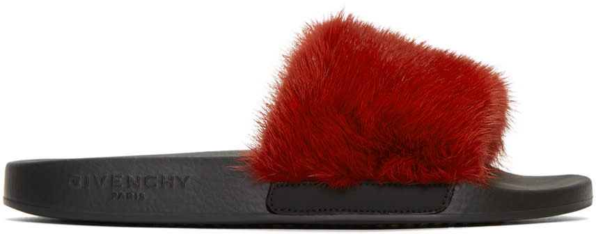 Givenchy Red and Black Fur Slides