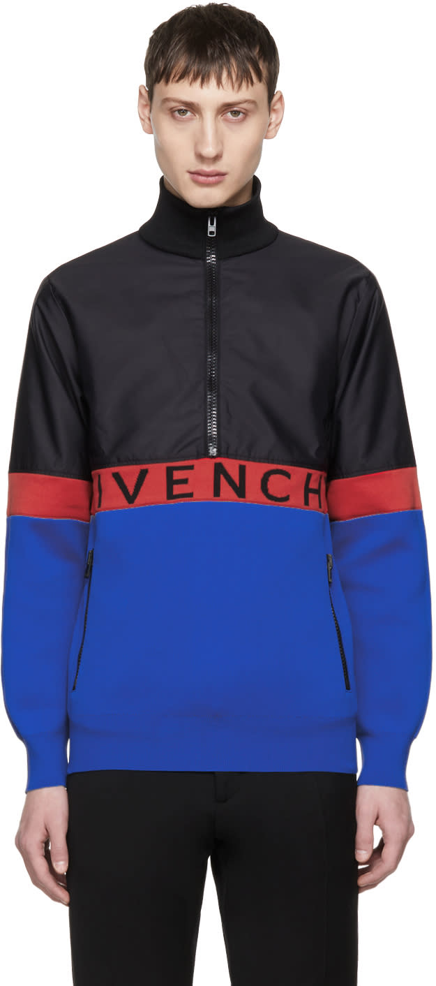 Image of Givenchy Black and Blue Half-zip Jacket