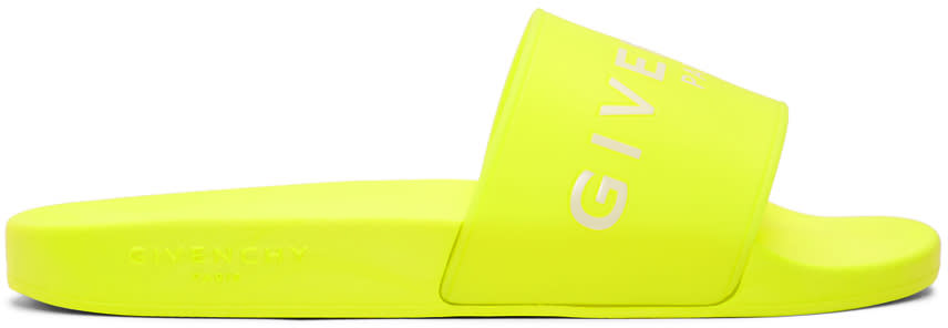 Givenchy Yellow Logo Pool Slides