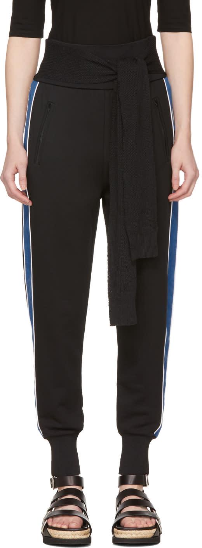 31 Phillip Lim Black and Blue Waist Tie Jogger Pants