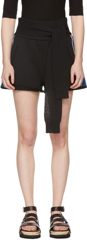 31 Phillip Lim Black and Blue Waist Tie Shorts