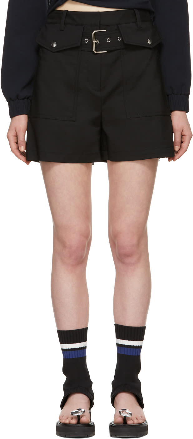 31 Phillip Lim Black Belted Flap Pockets Shorts