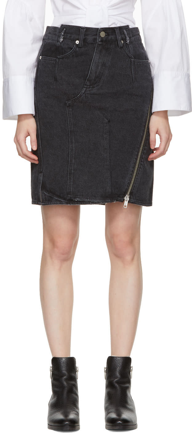31 Phillip Lim Black Denim Asymmetric Zipper Miniskirt