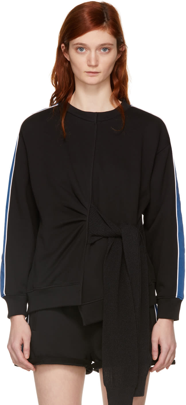 31 Phillip Lim Black and Blue Waist Tie Sweatshirt