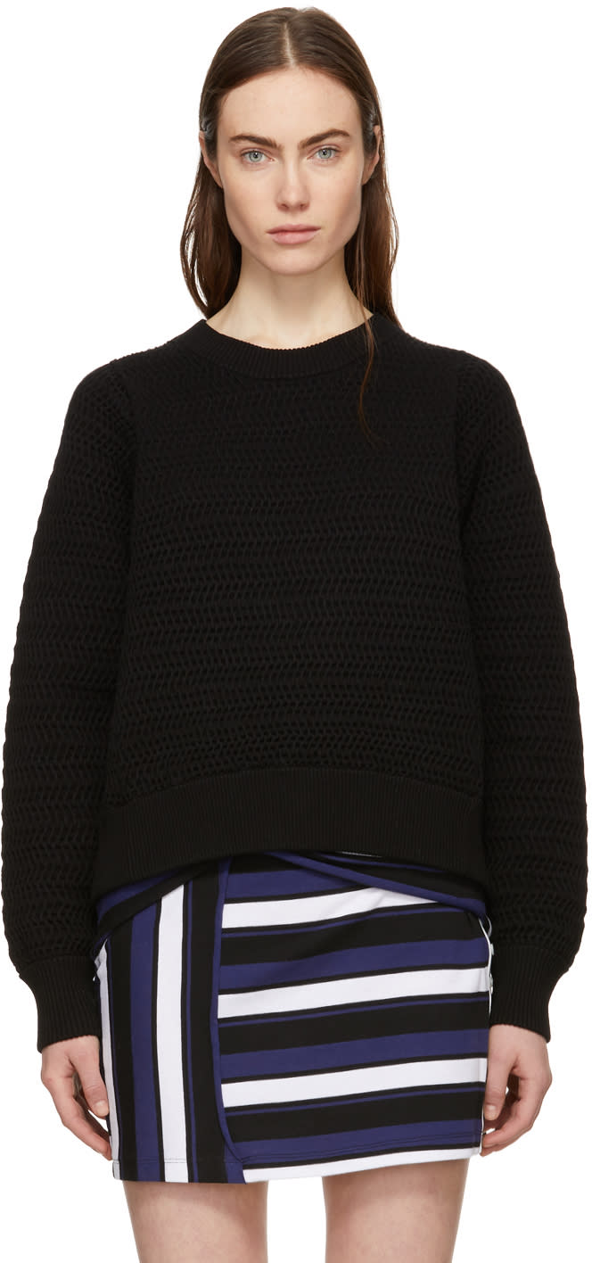 31 Phillip Lim Black Faux Plait Silk Cocoon Sweater