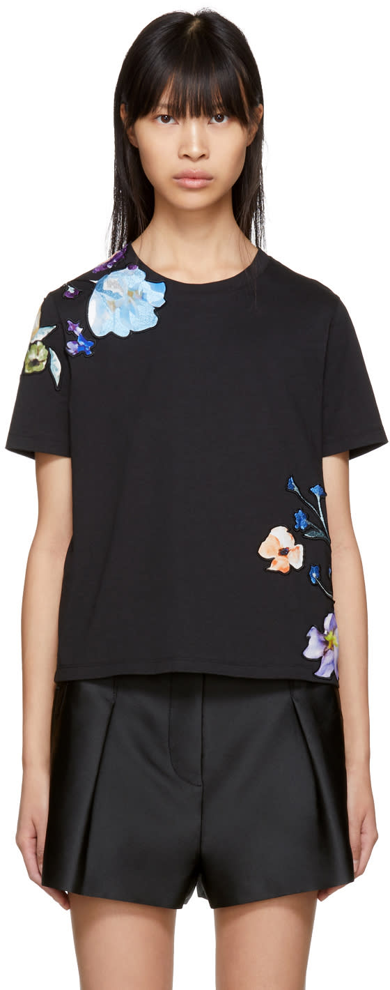 31 Phillip Lim Black Floral Appliqué T shirt